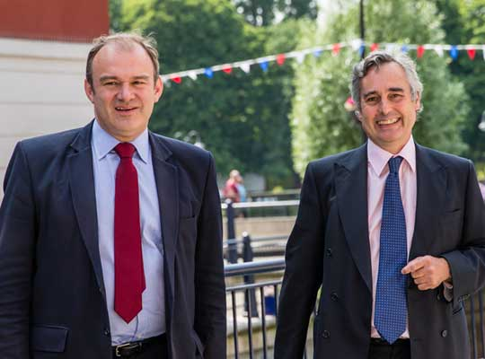 Ed Davey, Energy Secretary and local MP, and Martin Boyd, chair of Charter Quay residents' association and co-director of LKP