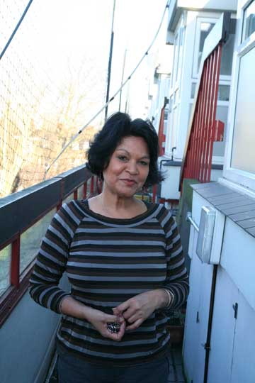 Farieda Cgandoo, 60, on the balcony at her council-owned block in south London, where she has been a leaseholder of a three-bedroom, split-level flat since 1997. After her disastrous legal battles with Southwark council, she is almost certainly going to have to sell