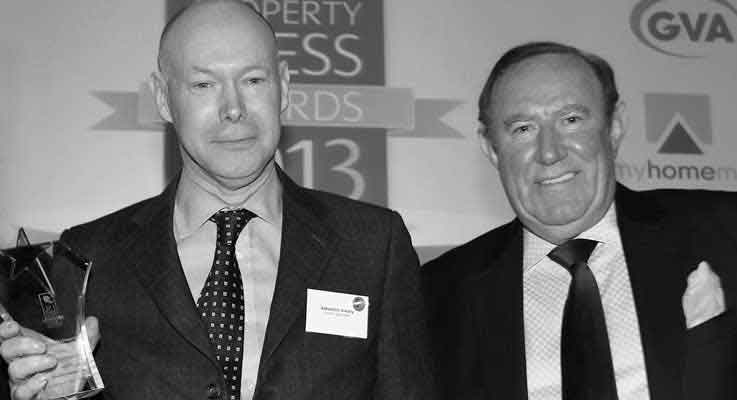 Sebastian O'Kelly and Andrew Neal, the veteran newspaper editor and broadcaster who presented LKP with the LSL Property Award for Best Online Editorial 2013