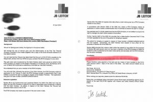 JB Leitch letter to RTM members demanding payment