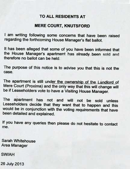 On the noticeboard: Mere Court residents  wrongly told house manager's flat belonged to freeholder.In fact it was registered to Peverel in 2009 and borrowed against in March 2012