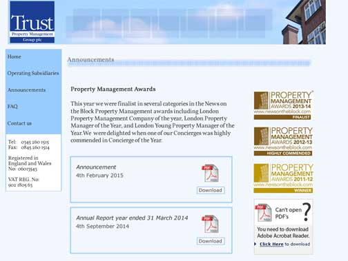 Trust Property Management still boasts its awards from the property managers' journal News on the Block, but it has not managed to find a buyer