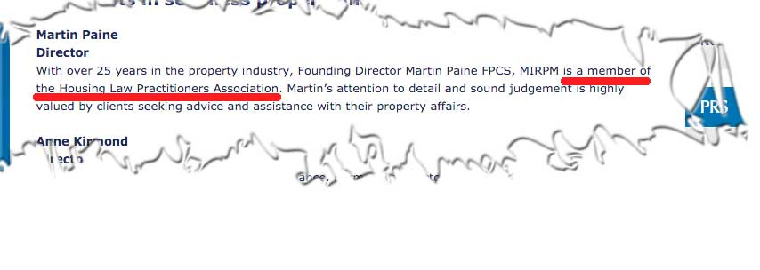 Martin Paine has admitted to LKP that he is not a member of the Housing Law Practitioners' Association