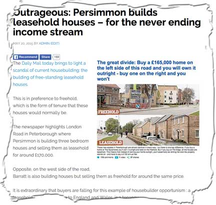 Persimmon, Redrow and Bellway are all building leasehold houses as a means to embed an income stream into the properties that they sell